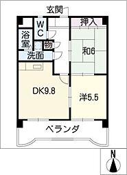 マンション ベルエア[7階]の間取り