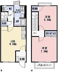 滋賀県近江八幡市北之庄町の賃貸アパートの間取り