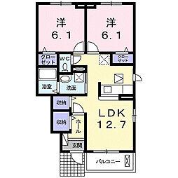 静岡県浜松市中区名塚町の賃貸アパートの間取り