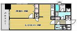 大阪府大阪市中央区博労町4丁目の賃貸マンションの間取り