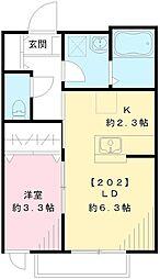 JR南武線 西国立駅 徒歩12分の賃貸アパート 2階1LDKの間取り