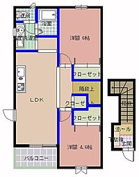 茨城県那珂市菅谷の賃貸アパートの間取り