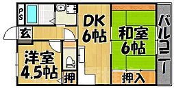 福岡県福岡市東区美和台7丁目の賃貸マンションの間取り