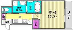 兵庫県神戸市中央区多聞通2丁目の賃貸マンションの間取り