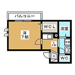 仮称)D-room菅野 3階1Kの間取り