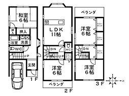 Osaka Metro御堂筋線 新金岡駅 徒歩15分の賃貸一戸建て 4LDKの間取り