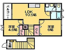 福岡県糟屋郡篠栗町大字和田の賃貸アパートの間取り