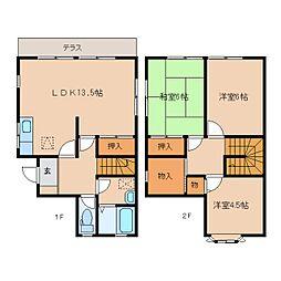 [テラスハウス] 奈良県奈良市神功3丁目 の賃貸【/】の間取り