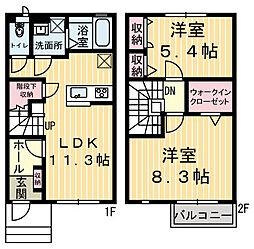 [タウンハウス] 栃木県鹿沼市鳥居跡町 の賃貸【/】の間取り
