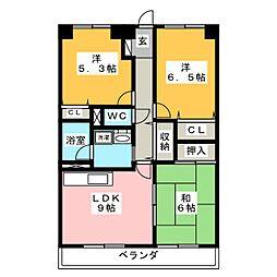 メゾンド鏡島[5階]の間取り