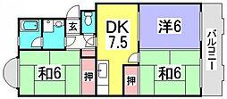 第1中西マンション[4階]の間取り