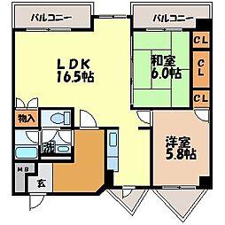 長崎県長崎市松山町の賃貸マンションの間取り