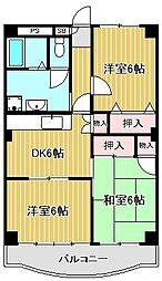 神奈川県川崎市中原区上丸子天神町の賃貸マンションの間取り