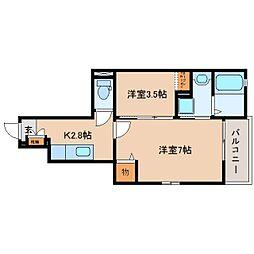 JR東海道本線 静岡駅 バス16分 県立短大下車 徒歩3分の賃貸アパート 1階2Kの間取り