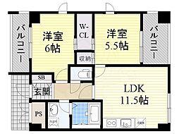 JR東海道・山陽本線 JR総持寺駅 3.1kmの賃貸マンション 2階2LDKの間取り