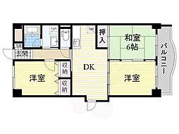 グレースシャトレ 4階3DKの間取り