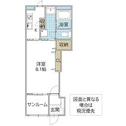 (仮)阿見町阿見新築アパート B棟 1階1Kの間取り