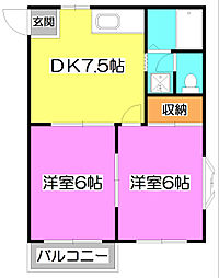 埼玉県富士見市西みずほ台1丁目の賃貸アパートの間取り