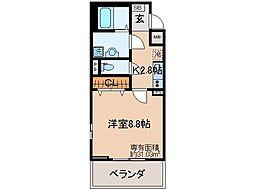 京都府京都市山科区北花山大林町の賃貸アパートの間取り