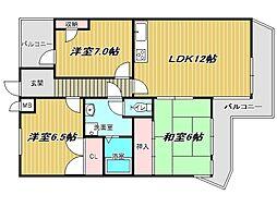 兵庫県神戸市垂水区桃山台4丁目の賃貸マンションの間取り