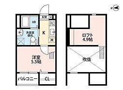 名古屋市営東山線 岩塚駅 徒歩7分の賃貸アパート 2階1SKの間取り