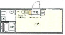 (仮称)台東区上野桜木2丁目マンションB 3階ワンルームの間取り