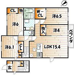 D-room城野駅II C棟[2階]の間取り