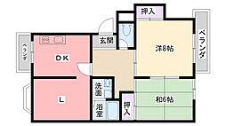 熊野町ハイツ[302号室]の間取り