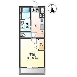 袖ケ浦市久保田新築アパート 2階1Kの間取り