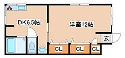 兵庫県神戸市兵庫区下沢通8の賃貸アパートの間取り