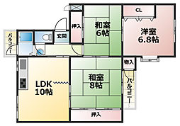 鶴甲コーポ10号棟[5階]の間取り