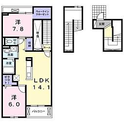 プチフローラ北野田II 3階2LDKの間取り