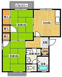 広島県安芸郡府中町みくまり2丁目の賃貸アパートの間取り