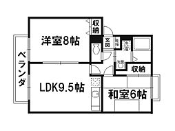 京都府京都市北区西賀茂南川上町の賃貸アパートの間取り