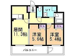 ALPHA STAGE Sapporo 4階2LDKの間取り