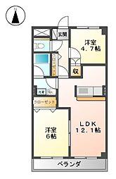 愛知県名古屋市北区楠2丁目の賃貸マンションの間取り