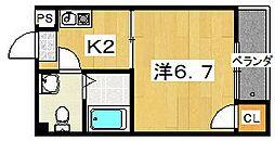 星ヶ丘ハイツ[402号室]の間取り