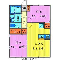 埼玉県鶴ヶ島市上広谷の賃貸アパートの間取り