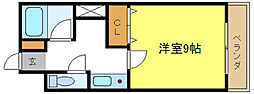 フロントオブザポリス新光 3階1Kの間取り