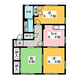 ラ・コリーナA[1階]の間取り