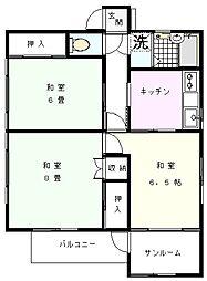 間嶋アパート[2階号室]の間取り