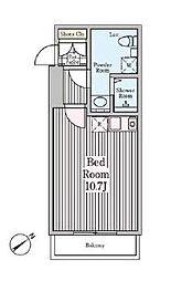 東急東横線 代官山駅 徒歩8分の賃貸マンション 2階ワンルームの間取り