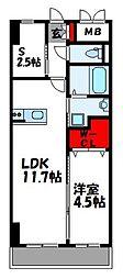 JR香椎線 酒殿駅 徒歩27分の賃貸マンション 3階1SLDKの間取り