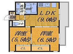 大阪府堺市堺区向陵西町1丁の賃貸マンションの間取り