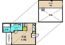 阪神なんば線 千鳥橋駅 徒歩15分の賃貸アパート 1階ワンルームの間取り