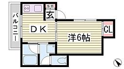 兵庫県神戸市兵庫区下沢通5丁目の賃貸アパートの間取り