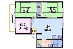 ウィンディア高台[A203号室]の間取り