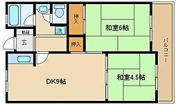 大阪府泉佐野市湊2丁目の賃貸マンションの間取り