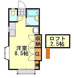 ラインヴィラ大巌寺B[206号室]の間取り