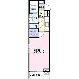 埼玉高速鉄道 新井宿駅 徒歩9分の賃貸アパート 2階1Kの間取り
